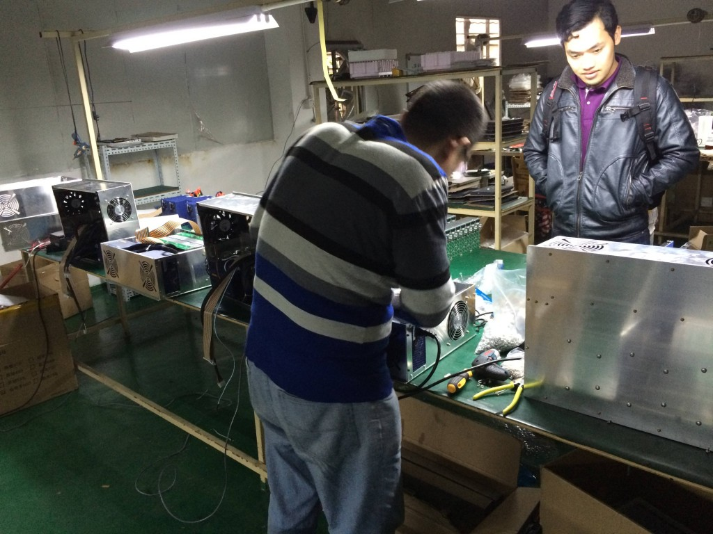 Inside BTMine: I grabbed this picture from a post on bitcointalk.org. Who are these guys? Whoever you are -- thanks! More manufacturing pictures here: http://imgur.com/a/vkEPu