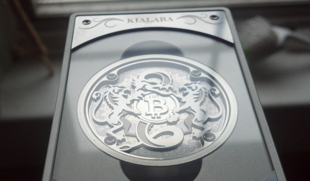 Angle view of a Kialara physical bitcoin.