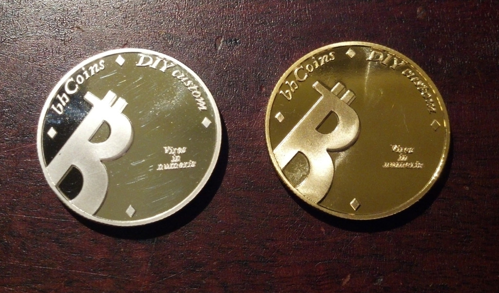 BHCoins DIY coins in silvery and golden, shiny and slanty.