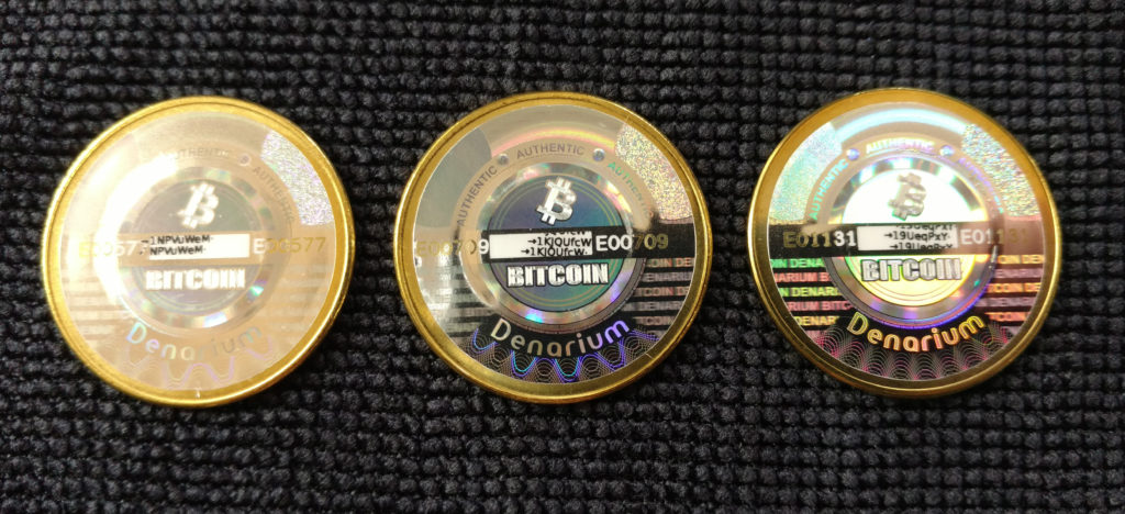 Denarium brass physical bitcoins, reverse.
