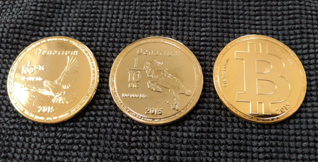 Denarium gold-plated brass physical bitcoins, obverse.
